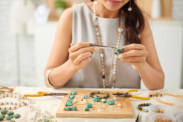 A Woman Making Jewellery