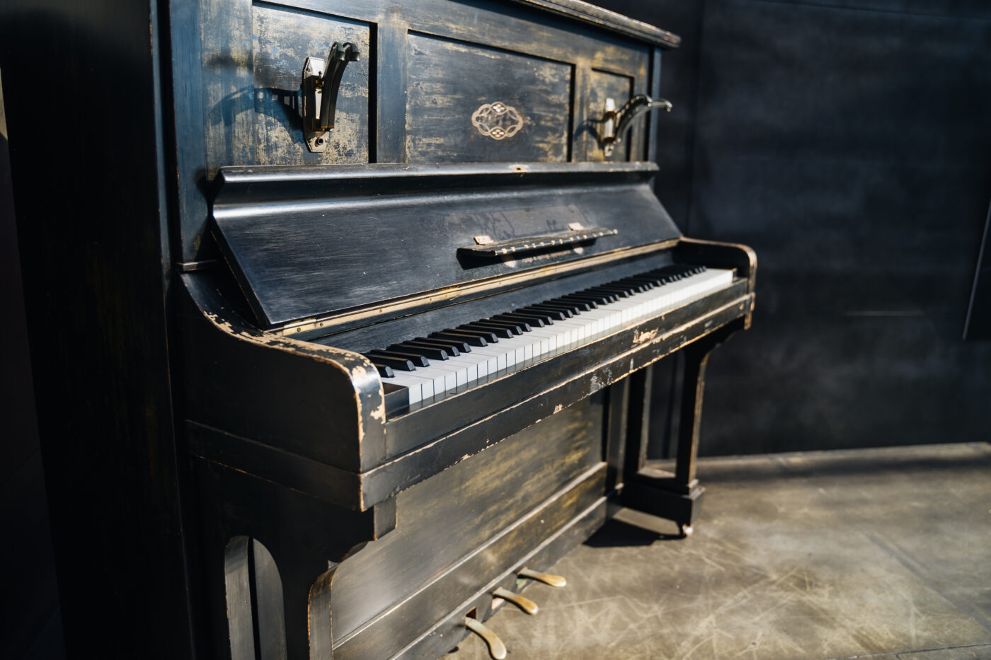 Close up of beautiful old piano